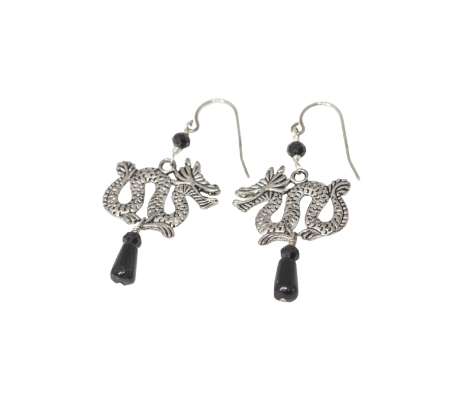 Pewter Dragons, Bl Onyx and Spinel Earrings