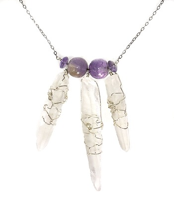 Lemurian Crystals and Ametrine necklace