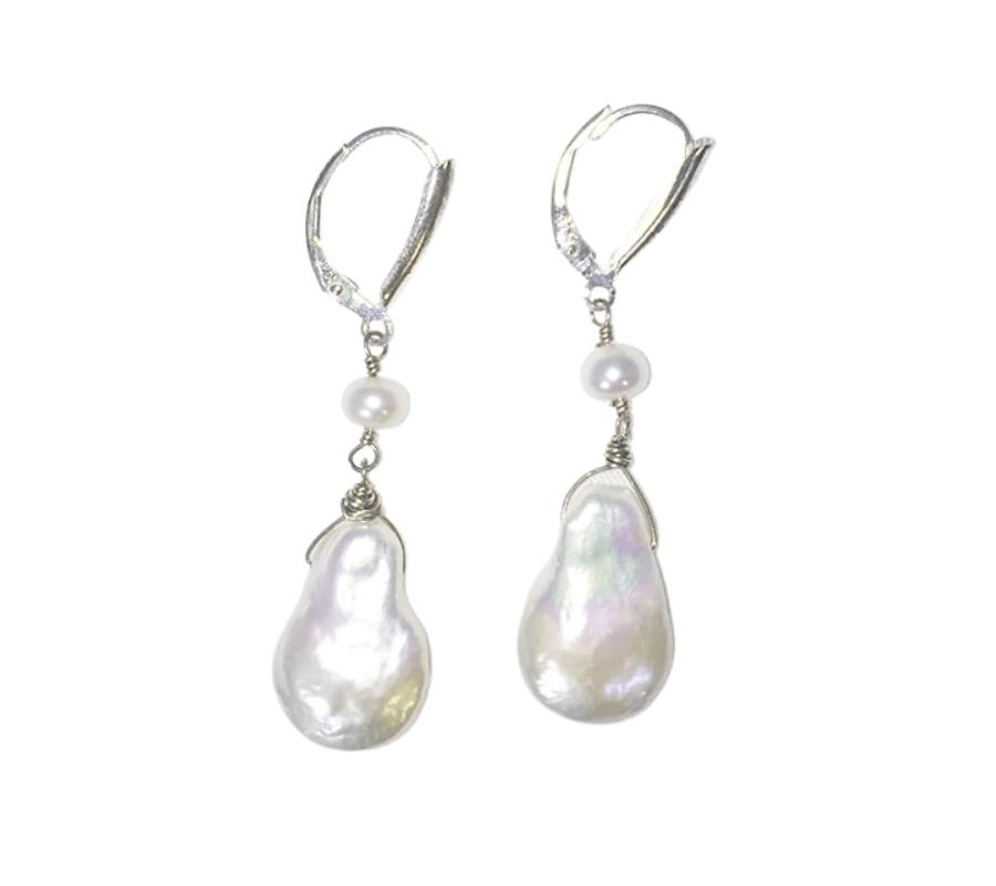 Flat Baroque Pearls, Akoya Pearls, Sterling Silver Earrings