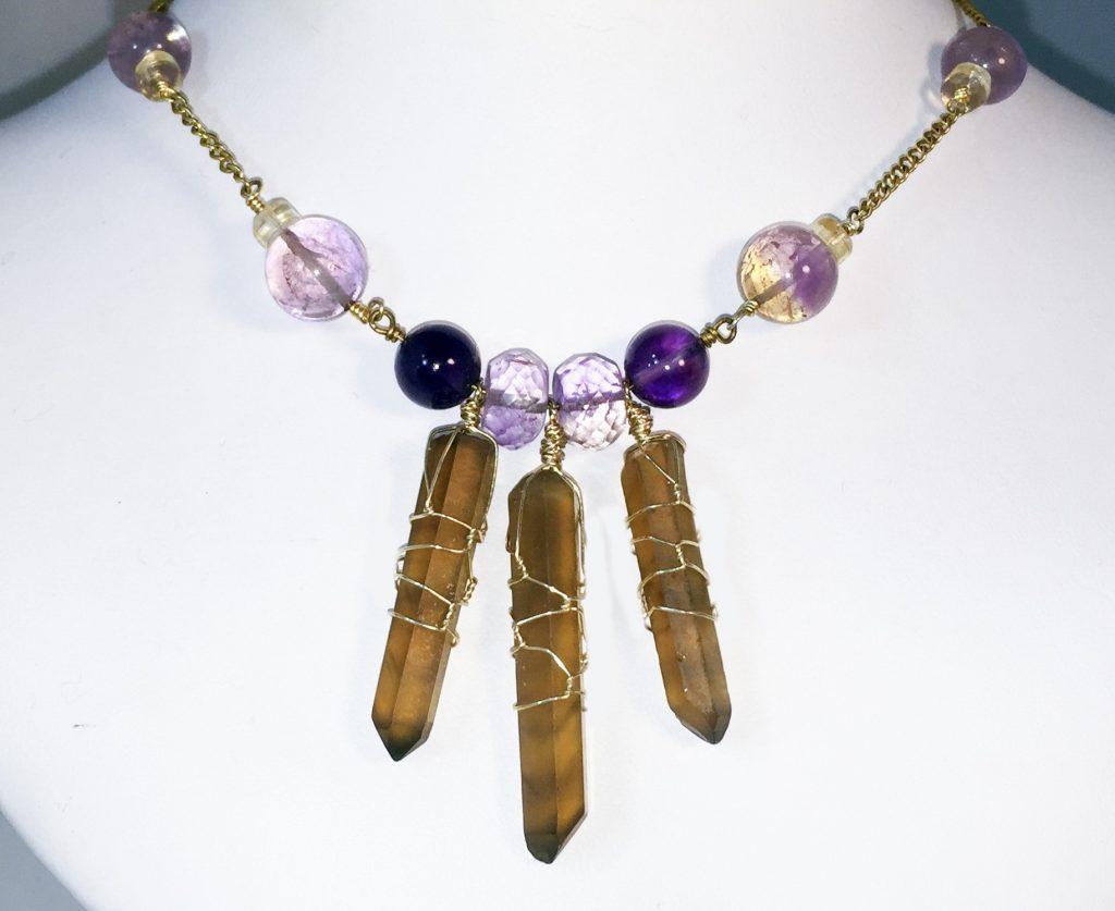 Citrine, ametrine gold filled necklace
