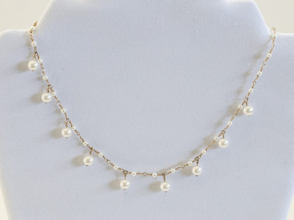 Akoya Pearls, Gold Filled Wire Necklace