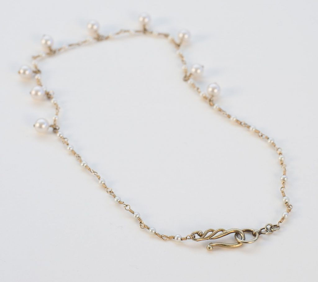 Akoya Pearls, Gold Filled Wire Necklace 2