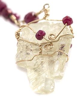 Rubies on Kunzite Crystal, back