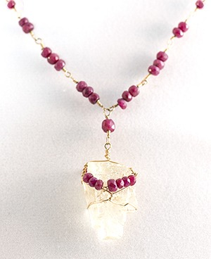 Ruby and Yellow Kunzite Necklace