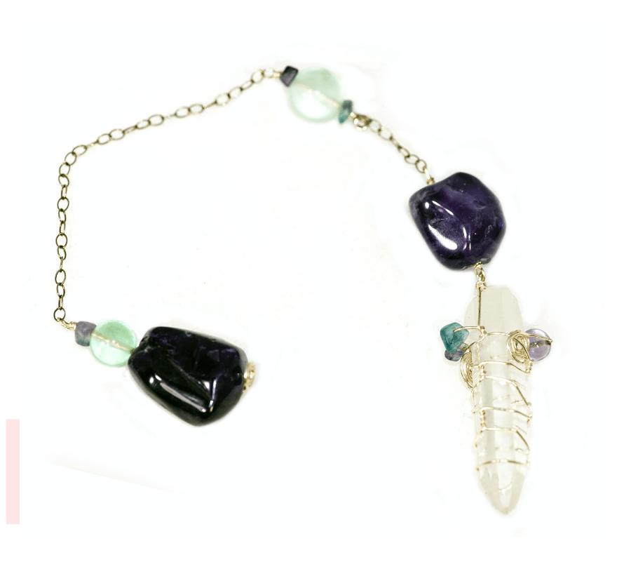 Lemurian Crystal Amethyst Pendulum