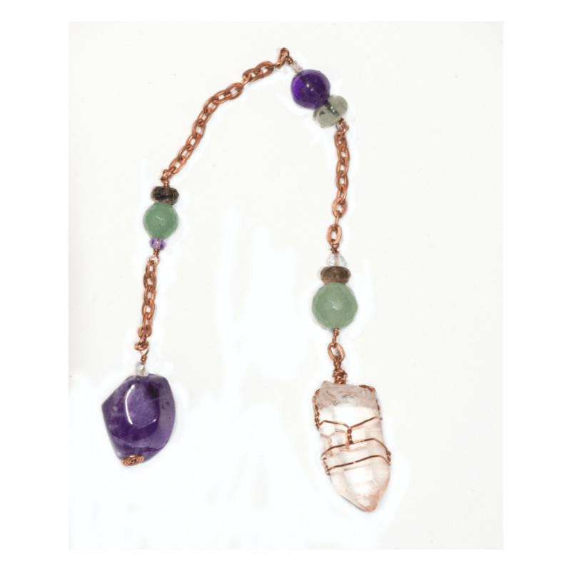 Hematoid Crystal + Amethyst Pendulum