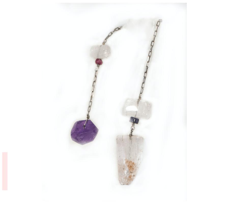 Kunzite + Amethyst Pendulum