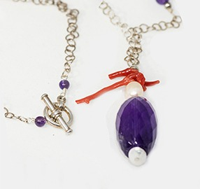 Amethyst, Mediterannean Coral and Pearl necklace