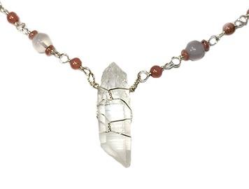 Quartz Crystal, Rhodochrosite, Chalcedony necklace