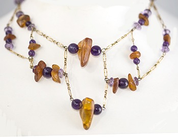 Unique Amber and Amethyst necklace