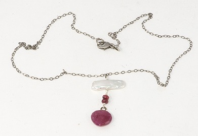 Ruby and Stick Pearl necklace