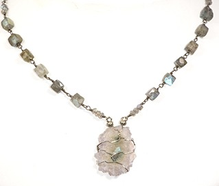 Light Amethyst Slice and colorful Labradorite, Sterling silver necklace