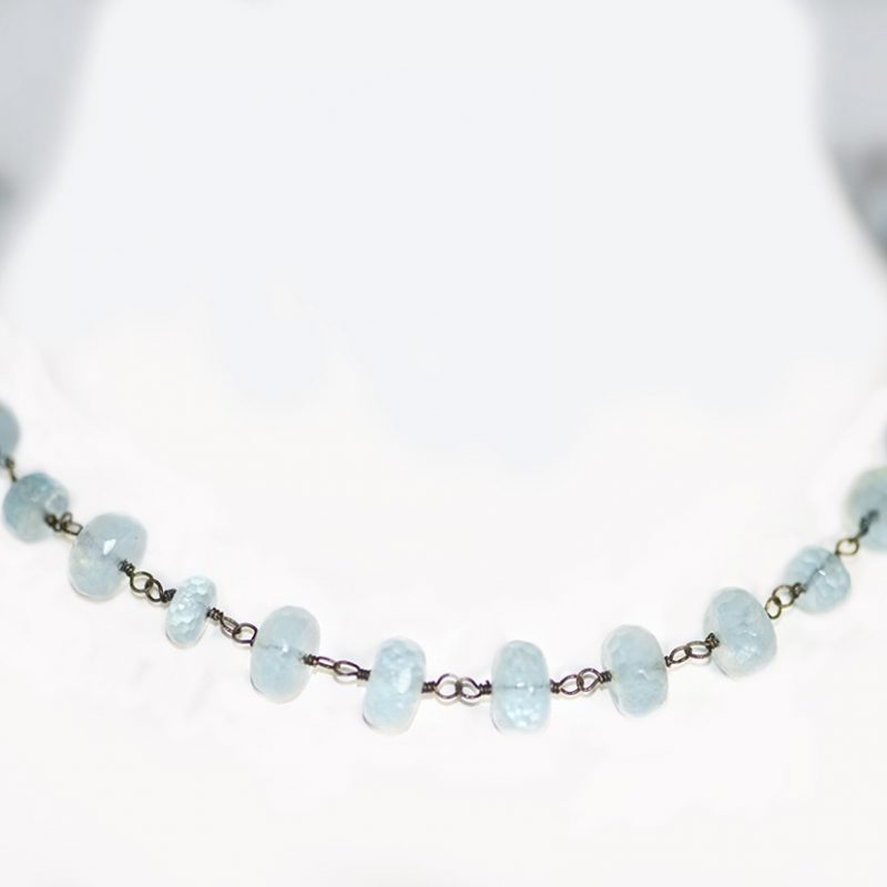 Aquamarine, oxidized Sterling chain and clasp, hand made chain