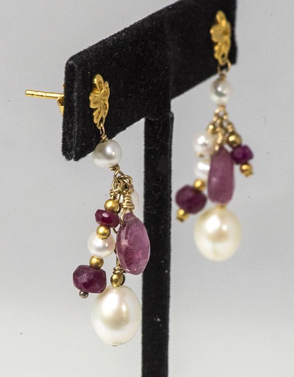 Ruby and Pearl, Gold Vermeil Earrings