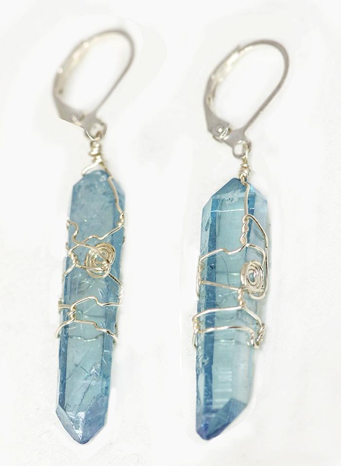 Aqua Aura crystal Earrings