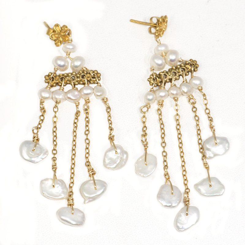 Beautiful Keishi Pearl Earrings and gold vermeil