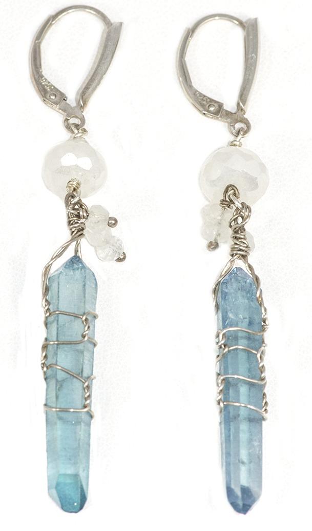 Aqua Aura Crystal and Moonstone Earrings